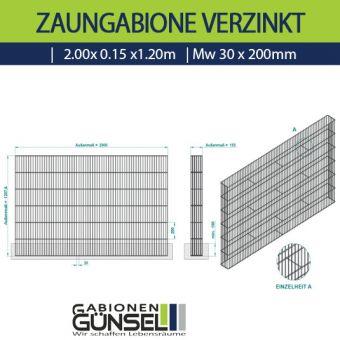 Zaungabione Verzinkt 2,00 x 0,15 x 1,20