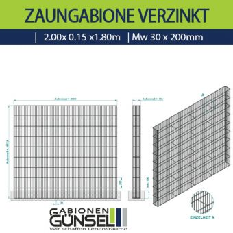 Zaungabione Verzinkt 2,00 x 0,15 x 1,80